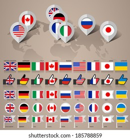 Set of Flags Countries Members of the G8 group and Ukraine, flat vector illustration 10eps