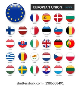 Set of flags european union and members in botton stlye,vector design element illustration