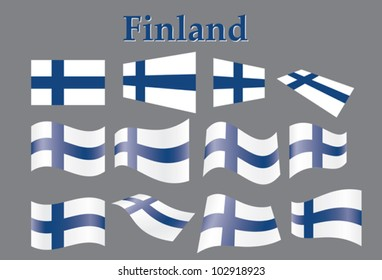 set of flags of Finland vector illustration