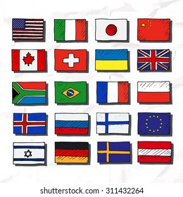 Set of flags. Hand drawn.