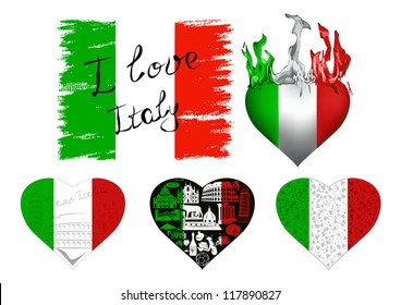 Set of flags and hearts in Italian tricolor with symbols of Italy.