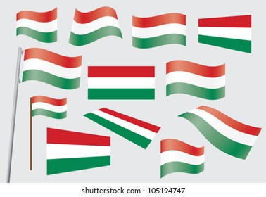 set of flags of Hungary vector illustration