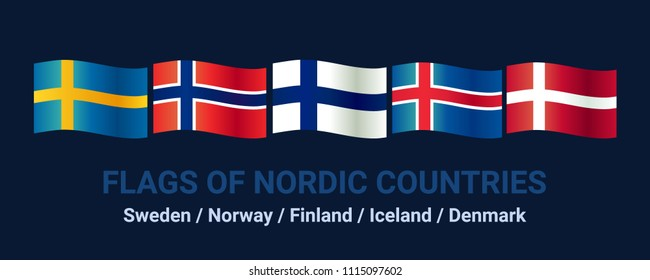 Set of flags of northern countries. Sweden, Norway, Finland, Iceland, Denmark. Vector symbols. icons. Isolated on blue background.