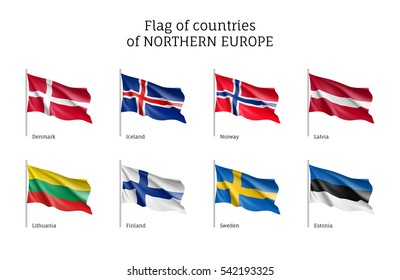 Set of flags of Northern Europe countries. States ensigns on flagpole: Estonia and Norway, Latvia and Lithuania, Iceland and Finland, Sweden and Denmark. Vector icons isolated on white background.
