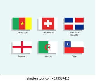Set of flags over blue background
