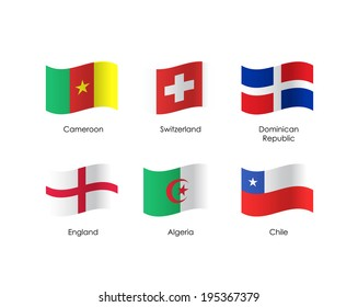 Set of flags over isolated white background