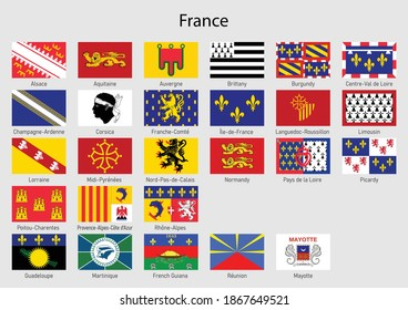 Set Flags of the province of France, All French regions flag collection