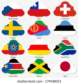 Set  Flags of world sovereign states in  form  clouds. Vector illustration. Set number 17. Exact colors. Easy changes.