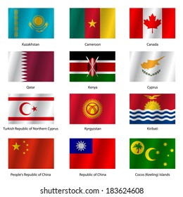 Set  Flags of world sovereign states. Vector illustration. Set number 7. Exact colors. Easy changes.