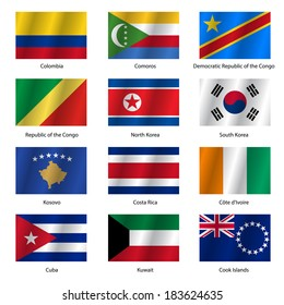 Set  Flags of world sovereign states. Vector illustration. Set number 8. Exact colors. Easy changes.