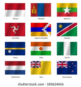 Set  Flags of world sovereign states. Vector illustration. Set number 11. Exact colors. Easy changes.