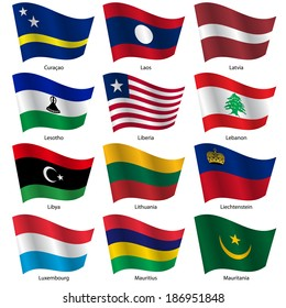 Set  Flags of world sovereign states. Vector illustration. Set number 9. Exact colors. Easy changes.