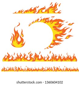 Set of flame elements on a white background, fire. Horizontal pattern of fire, fire around the wheel.