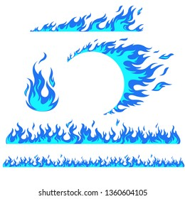 Set of flame elements on a white background, blue fire. Horizontal pattern of fire, fire around the wheel.
