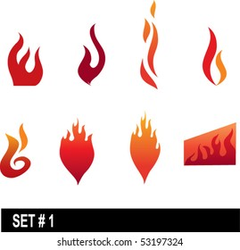 set of flame icons #1