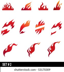 set of flame icons #2