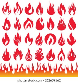 Set of Flame icons. Fire symbols. Vector illustration.