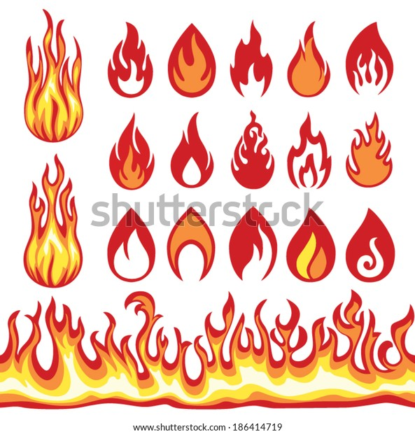 Set Flame Icons Fire Symbols Vector Stock Vector (Royalty Free