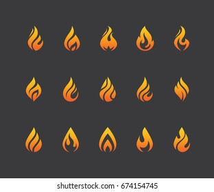 Set of flame icons. Hot fire burn, torch, bonfire symbol. Water drop shape. Oil and gas industry logo isolated on black background.