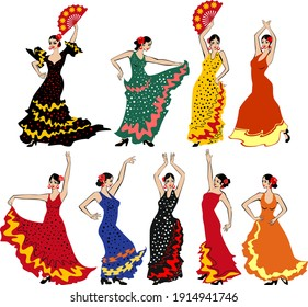 Set of flamenco dancers in colorful traditional spanish dresses isolated on white background
