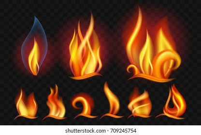 Set of flames - modern vector realistic isolated clip art on transparent background. Burning big,small orange, yellow, red fires of different shapes and forms. Concept of energy, danger, power