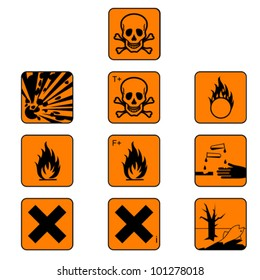 Set of flammabl chemicals - hazard symbols and warning sign isolated on white, vector