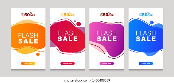 Set of flash sale banners with dynamic modern liquid mobile concept. special offer and sale banner discount up to 50% template design with editable text.