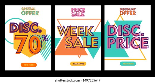 Set of flash sale banners with dynamic modern liquid mobile concept. special offer and sale banner discount template design
