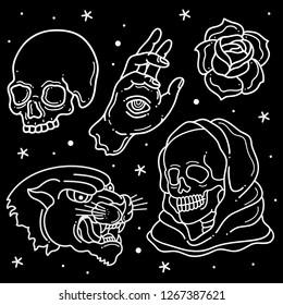 set flash tattoo design, vector EPS 10