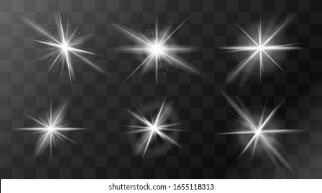 Set of flashes, star burst and sparkles on transparent background. golden glowing effect with light rays. Vector illustration.