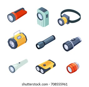 Set of flashlights or torches portable hand-held electric lights realistic vectors isolated on white. Spotlights with a large reflector and LED lamps