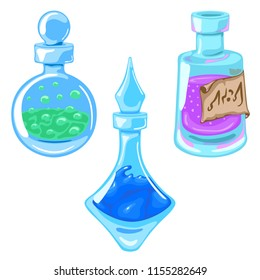 Set with flasks of magical elixir of various shapes