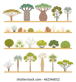 Set of flat African flora elements: different types of trees, grass and bushes, isolated on white background.