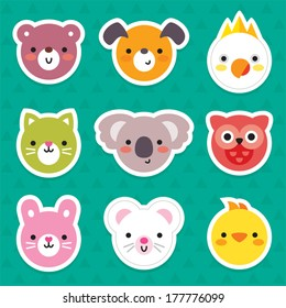 Set of flat animal and bird face stickers in bright retro colors. Minimal design for stickers, labels, tags.