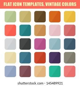 Set Of Flat App Icon Templates, Backgrounds. Vintage Palette. Vector