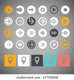 Set flat arrow icons and map pointers for web design, mobile apps and buttons