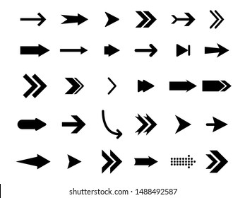 Set flat arrows vector with isolated on white background.