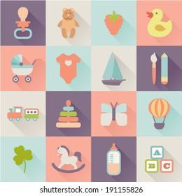set of flat baby icons
