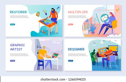 Set of flat banners creative professions graphic artist restorer multiplier and designer isolated vector illustration