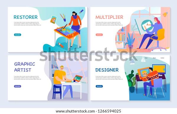 set-flat-banners-creative-professions-600w-1266594025 Trends For Graphic Artist Vector @koolgadgetz.com.info