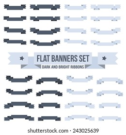 Set flat banners or ribbons of different designs in the light and dark versions.