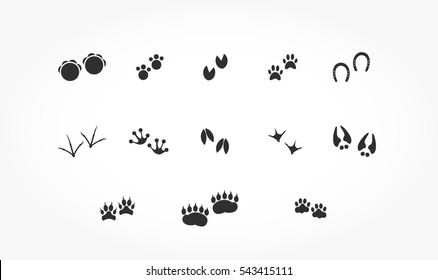 Set Of Flat Black Animals Footprints With Drop Shadow Wildlife Feet Mark