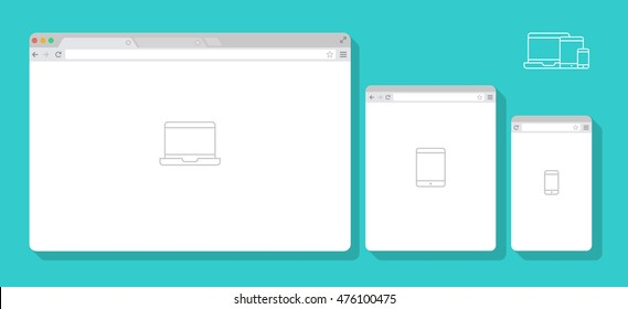Set of Flat blank browser windows for different devices. Vector. Computer, tablet, phone sizes. Device Icons: smart phone, tablet and desktop computer. Vector illustration of responsive web design.