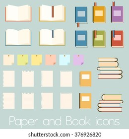 Set of flat book icons