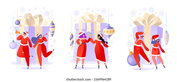 Set of flat cartoon people characters with holiday scenes. Women and men dancing and having fun, drinking champagne. People in anticipation of the celebration of Christmas and New Year.