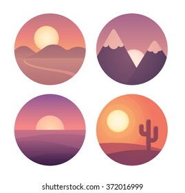 Set of flat cartoon sunset landscapes in circles. Different locations: desert, mountains and sea.