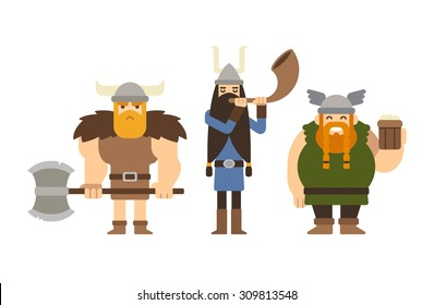 Set of flat cartoon vikings: muscular with axe, tall with horn and funny fat with beer.