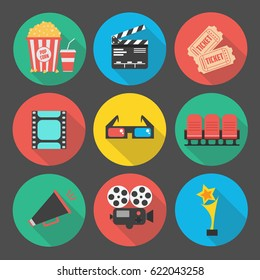 Set of Flat cinema icon. vector illustration