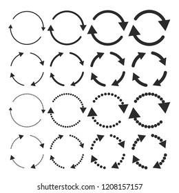 Set of flat circular arrows. Vector illustration. Refresh or reload sign.