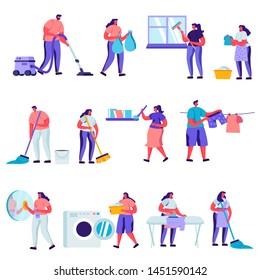 Set of Flat Cleaning and Repair Service Workers Characters. Cartoon People Service of Professional Cleaners at Work Mopping, Vacuuming Floor. Vector Illustration.